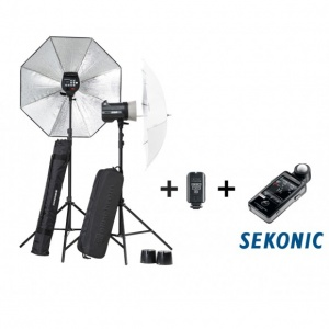 Elinchrom BRX 500/500 2-Head Softbox To Go Kit inc. Skyport Plus & Sekonic 478 Meter