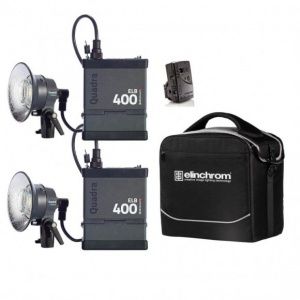 Elinchrom Quadra ELB 400 Two Action Head, Twin Pack Poly Case Kit